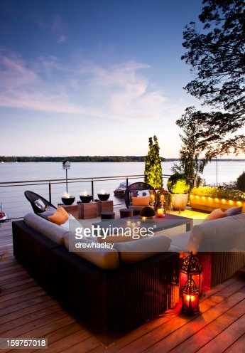Patio over looking the lake at sunset.