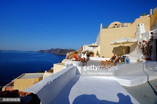 Patio view of the Caldera in Santorini, Greece : Stock Photo