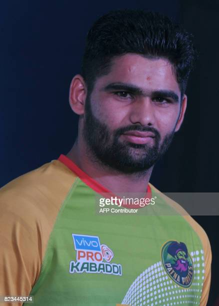 Patna Pirates Team kabaddi captain Pradeep Narwal poses during an event for the fifth edition of the Pro Kabaddi League 2017 in Hyderabad on July 27...