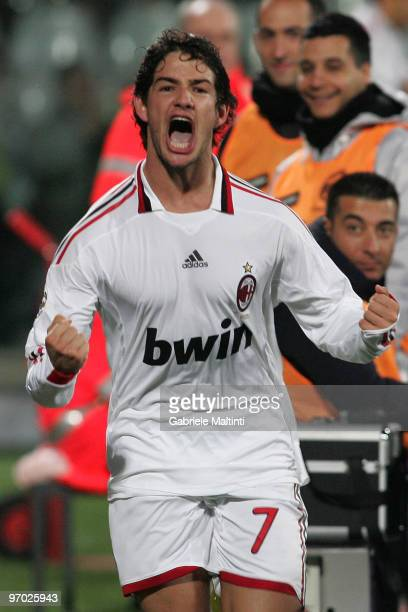 Pato of AC Milan celebrates after scoring the 21 goal during the Serie A match between ACF Fiorentina and AC Milan at Stadio Artemio Franchi on...