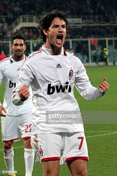 Pato of AC MIlan celebrates his 21 goal during the Serie A match between ACF Fiorentina and AC Milan at Stadio Artemio Franchi on February 24 2010 in...
