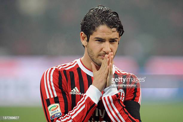Pato of AC Milan looks on prior to the Serie A match between AC Milan and FC Internazionale Milano at Stadio Giuseppe Meazza on January 15 2012 in...