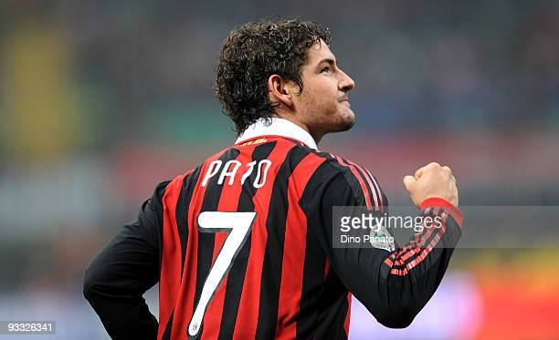 Pato of Milan celebrates after scoring their third milan's goal during the Serie A match between Milan and Cagliari at Stadio Giuseppe Meazza on...