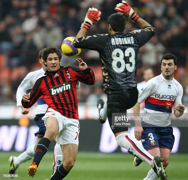 Pato of Milan challenges Rubens Fernando Rubinho of Genoa during the Serie A match between Milan and Genoa at the Stadio San Siro on January 27 2008...