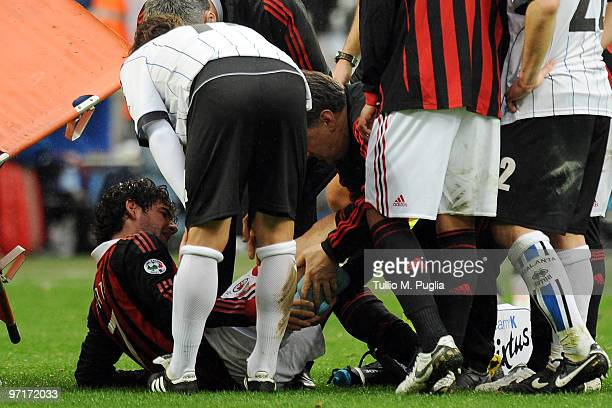 Pato of Milan looks injured during the Serie A match between Milan and Atalanta at Stadio Giuseppe Meazza on February 28 2010 in Milan Italy