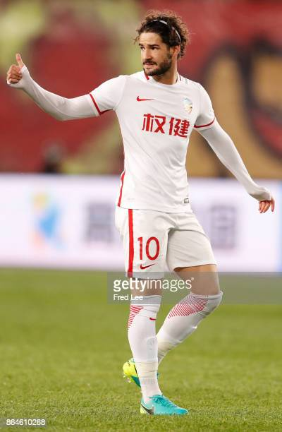 Pato of Tianjin Quanjian in action during the Chinese Super League match between Tianjin Quanjian FC and Hebei China Fortune FC at Haihe Educational...