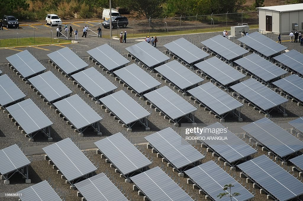 Patrial view of the Miravalles Solar Power Plant in Miravalles, 220 km north of San Jose, taken on November 22, 2012. Costa Rica inaugurated the largest plant of electricity from solar energy in Central America, which may generate 1.2 gigawats a year and was built with funds from the Japanese government. AFP PHOTO/Rodrigo ARANGUA