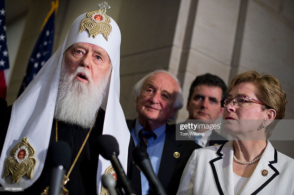 Patriarch Filaret, of the Ukrainian Orthodox Church, speaks during a news conference with members of the Ukrainian Parliament and Reps. Sander Levin, D-Mich., Mike Fitzpatrick, R-Pa., Marcy Kaptur, D-Ohio, at right, on the possibility of arming the Ukrainians in their conflict with Russian-backed rebels, February 5, 2015.