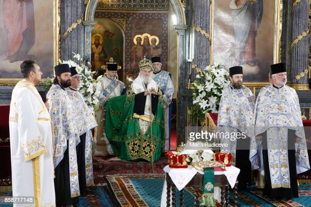 Patriarch Irinej during wedding of Prince Philip of Serbia and Danica Marinkovic at The Cathedral Church of St Michael the Archangel on October 7...