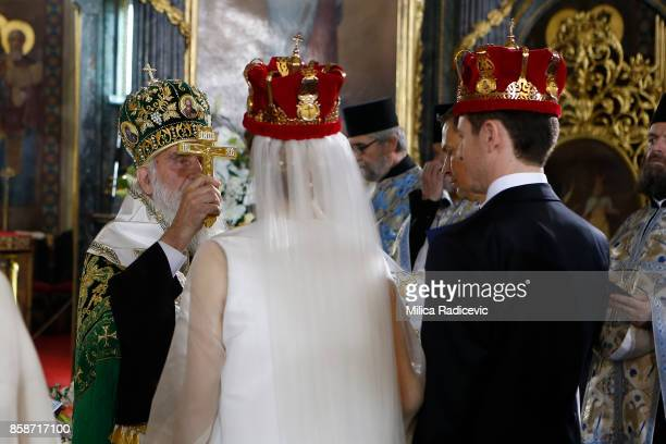 Patriarch Irinej Prince Philip of Serbia and Danica Marinkovic during their church wedding at The Cathedral Church of St Michael the Archangel on...