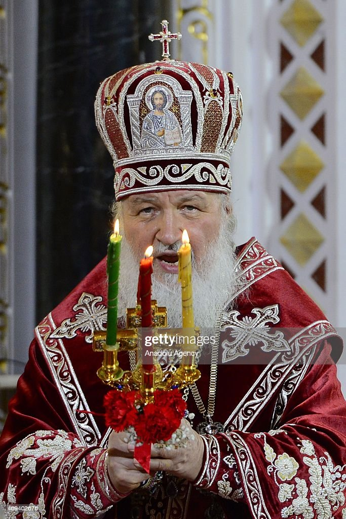 Patriarch Kirill of Russia leads the Easter service in Christ the Savior Cathedral in Moscow, Russia on April 12, 2015. Orthodox Christian believers mark the Holy Week of Easter in celebration of the crucifixion and resurrection of Jesus Christ.