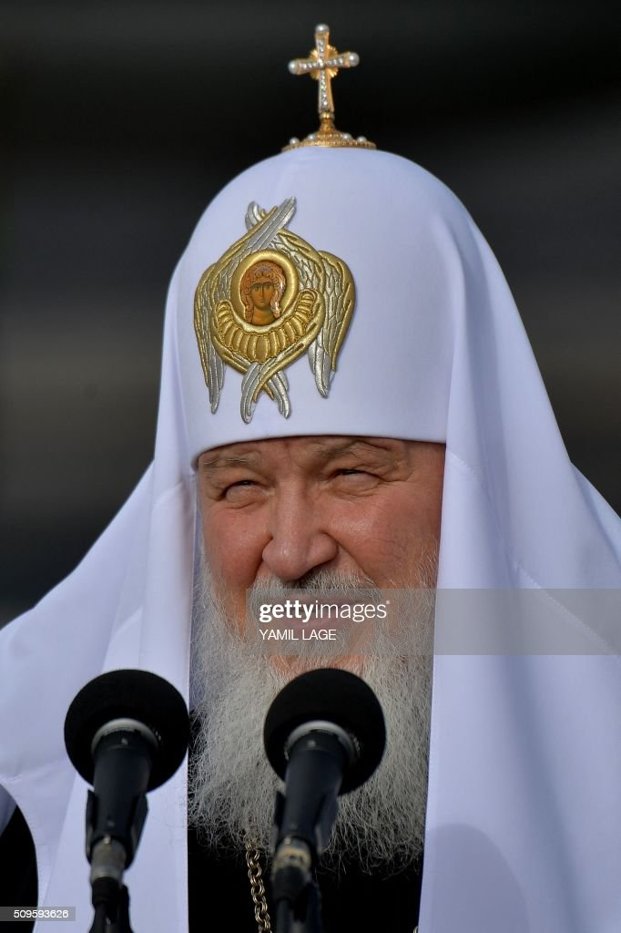 Patriarch of Moscow and All Russia and Primate of the Russian Orthodox Church, Kirill, delivers a speech upon his arrival at Jose Marti International airport in Havana, on February 11, 2016. Russian Patriarch Kirill arrives in Cuba for an official visit during which he will meet with Pope Francis, a dialogue that seeks rapprochement between the two churches. AFP PHOTO/YAMIL LAGE / AFP / YAMIL LAGE