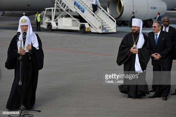 Patriarch of Moscow and All Russia and Primate of the Russian Orthodox Church Kirill delivers a speech upon his arrival at Jose Marti International...