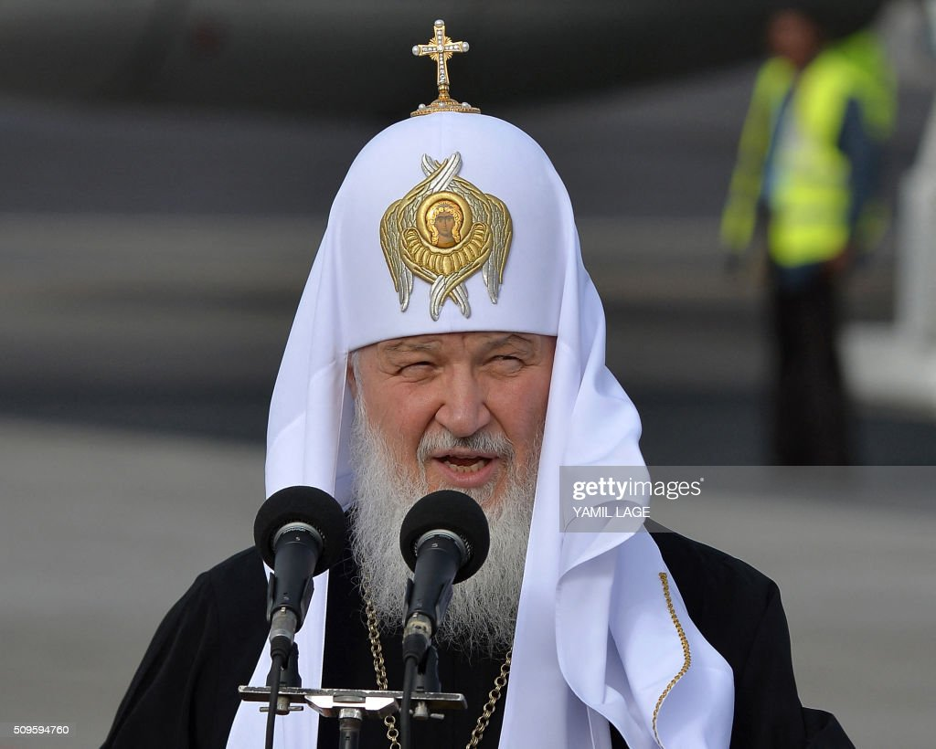 Patriarch of Moscow and All Russia and Primate of the Russian Orthodox Church, Kirill, delivers a speech upon his arrival at Jose Marti International airport in Havana, on February 11, 2016. Russian Patriarch Kirill arrives in Cuba for an official visit during which he will meet with Pope Francis, a dialogue that seeks rapprochement between the two churches. AFP PHOTO/YAMIL LAGE / AFP / YAMIL LAGE / AFP / YAMIL LAGE