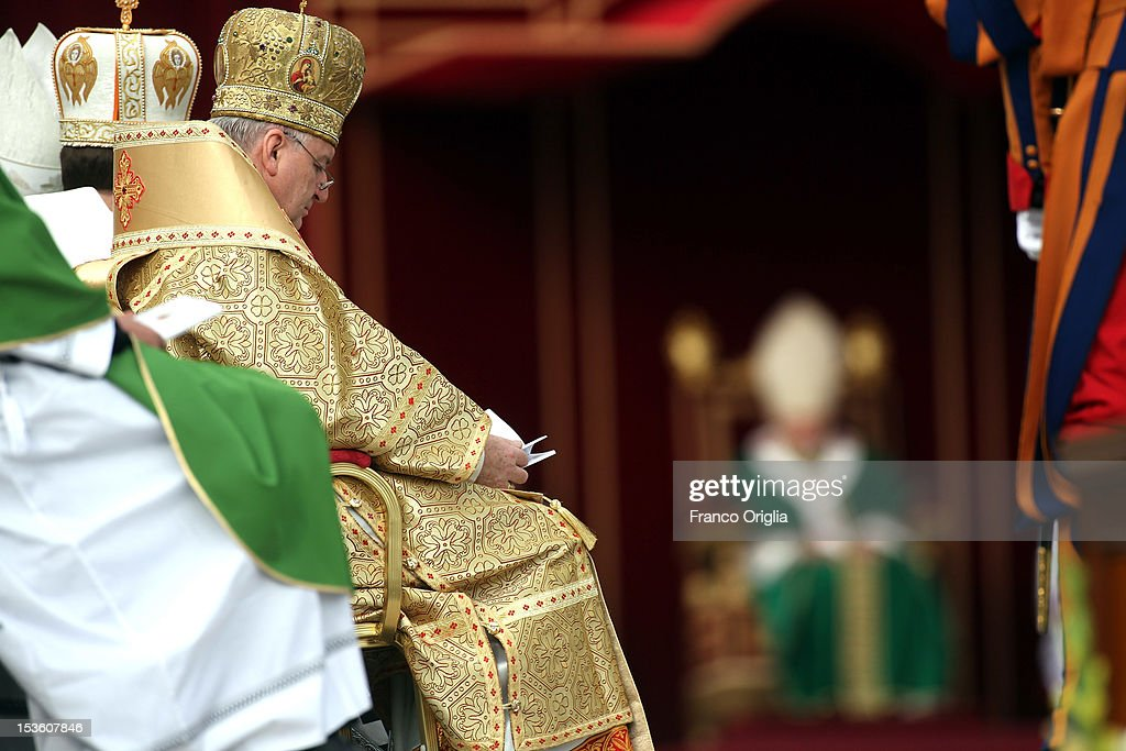 Patriarchs and Metropolites attend a mass in St. Peter's Square for the opening of the Synod of Bishops held by Pope Benedict XVI on October 7, 2012 in Vatican City, Vatican. Pontiff named today Spanish St John of Avila and German St Hildegard of Bingen as 'Doctors of the Church'.