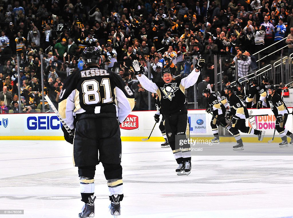 <a gi-track='captionPersonalityLinkClicked' href=/galleries/search?phrase=Patric+Hornqvist&family=editorial&specificpeople=1966879 ng-click='$event.stopPropagation()'>Patric Hornqvist</a> #72 celebrates after <a gi-track='captionPersonalityLinkClicked' href=/galleries/search?phrase=Phil+Kessel&family=editorial&specificpeople=537794 ng-click='$event.stopPropagation()'>Phil Kessel</a> #81 of the Pittsburgh Penguins scores the game winning goal in a shootout against the Buffalo Sabres at Consol Energy Center on March 29, 2016 in Pittsburgh, Pennsylvania.