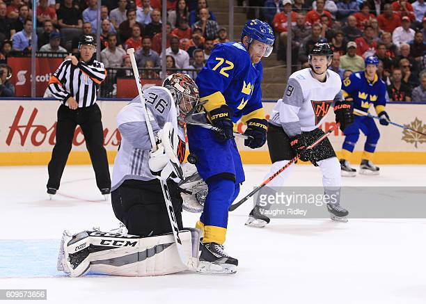 Patric Hornqvist of Team Sweden creates traffic in front John Gibson during the World Cup of Hockey 2016 at Air Canada Centre on September 21 2016 in...
