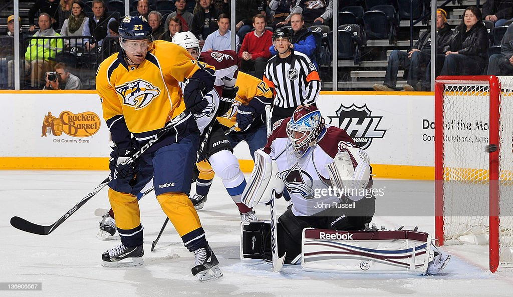 <a gi-track='captionPersonalityLinkClicked' href=/galleries/search?phrase=Patric+Hornqvist&family=editorial&specificpeople=1966879 ng-click='$event.stopPropagation()'>Patric Hornqvist</a> #27 of the Nashville Predators deflects a shot wide of the net against <a gi-track='captionPersonalityLinkClicked' href=/galleries/search?phrase=Jean-Sebastien+Giguere&family=editorial&specificpeople=202814 ng-click='$event.stopPropagation()'>Jean-Sebastien Giguere</a> #35 of the Colorado Avalanche during an NHL game at the Bridgestone Arena on January 12, 2011 in Nashville, Tennessee.