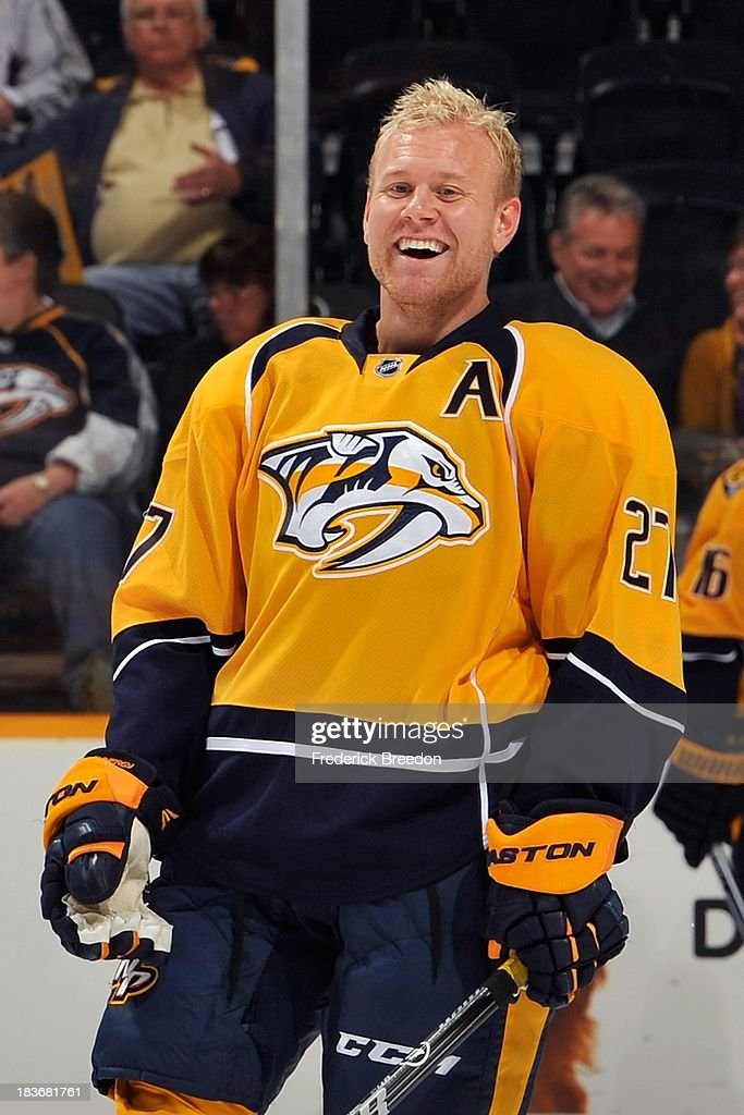<a gi-track='captionPersonalityLinkClicked' href=/galleries/search?phrase=Patric+Hornqvist&family=editorial&specificpeople=1966879 ng-click='$event.stopPropagation()'>Patric Hornqvist</a> #27 of the Nashville Predators laughs during warm ups prior to a game against the Minnesota Wild at Bridgestone Arena on October 8, 2013 in Nashville, Tennessee.