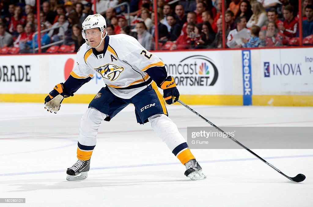 <a gi-track='captionPersonalityLinkClicked' href=/galleries/search?phrase=Patric+Hornqvist&family=editorial&specificpeople=1966879 ng-click='$event.stopPropagation()'>Patric Hornqvist</a> #27 of the Nashville Predators skates down the ice against the Washington Capitals during a preseason game at the Verizon Center on September 25, 2013 in Washington, DC.