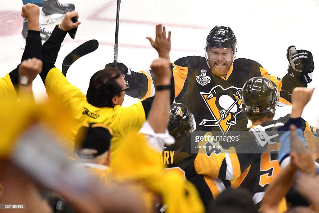 Patric Hornqvist of the Pittsburgh Penguins celebrates after Conor Sheary scored the gamewinning goal against Martin Jones of the San Jose Sharks to...