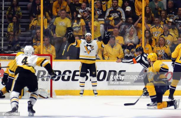 Patric Hornqvist of the Pittsburgh Penguins celebrates after scoring a goal against Pekka Rinne of the Nashville Predators during the third period in...