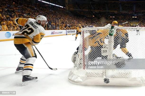 Patric Hornqvist of the Pittsburgh Penguins celebrates after scoring against the Nashville Predators during the third period in Game Six of the 2017...