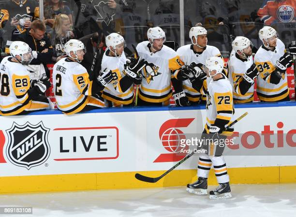 Patric Hornqvist of the Pittsburgh Penguins celebrates after scoring a goal during the game against the Edmonton Oilers on November 1 2017 at Rogers...