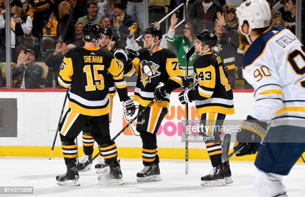 Patric Hornqvist of the Pittsburgh Penguins celebrates his first period goal against the Buffalo Sabres at PPG Paints Arena on November 14 2017 in...