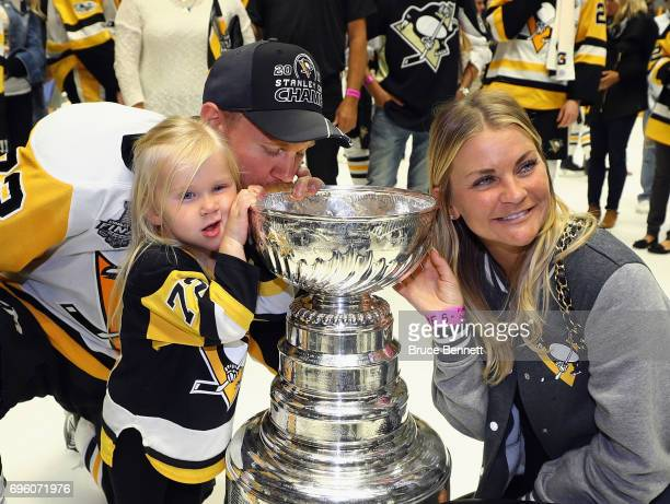 Patric Hornqvist of the Pittsburgh Penguins celebrates with the Stanley Cup following a victory over the Nashville Predators in Game Six of the 2017...