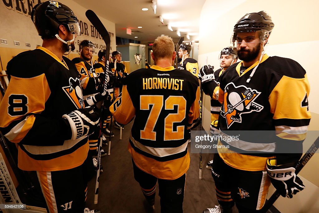 <a gi-track='captionPersonalityLinkClicked' href=/galleries/search?phrase=Patric+Hornqvist&family=editorial&specificpeople=1966879 ng-click='$event.stopPropagation()'>Patric Hornqvist</a> #72 of the Pittsburgh Penguins prepares to take the ice prior to Game Seven of the Eastern Conference Final against the Tampa Bay Lightning during the 2016 NHL Stanley Cup Playoffs at Consol Energy Center on May 26, 2016 in Pittsburgh, Pennsylvania.