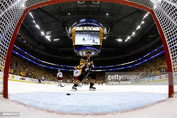 Patric Hornqvist of the Pittsburgh Penguins scores a empty net goal during the third period while playing Columbus Blue Jackets in Game Two of the...