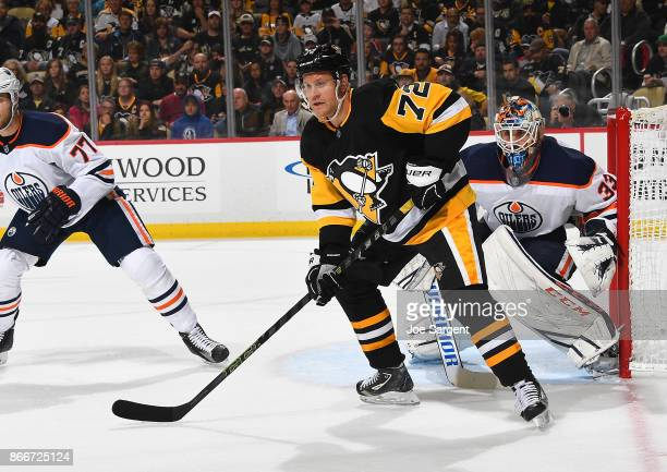 Patric Hornqvist of the Pittsburgh Penguins skates against the Edmonton Oilers at PPG Paints Arena on October 24 2017 in Pittsburgh Pennsylvania