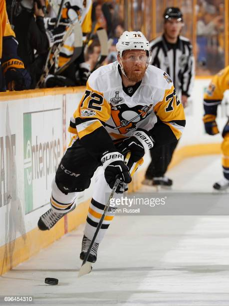 Patric Hornqvist of the Pittsburgh Penguins skates against the Nashville Predators during Game Three of the 2017 NHL Stanley Cup Final at Bridgestone...