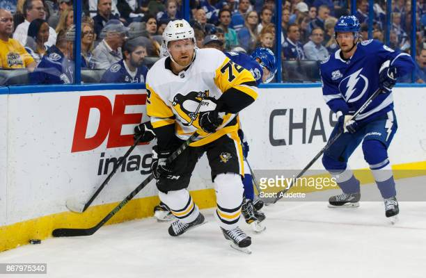 Patric Hornqvist of the Pittsburgh Penguins skates against the Tampa Bay Lightning at Amalie Arena on October 21 2017 in Tampa Florida 'n