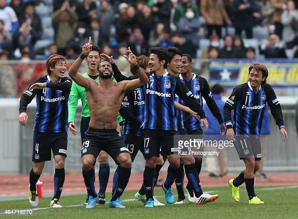 Patric of Gamba Osaka celebrates scoring his team's second goal with his team mates during the FUJI XEROX SUPER CUP 2015 match between Gamba Osaka...