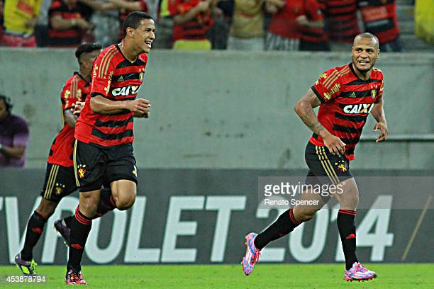 Patric of Sport Recife celebrates his goal during the Brasileirao Series A 2014 match between Sport Recife and Palmeiras at Arena Pernambuco on...