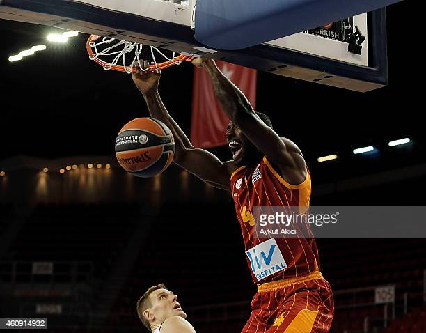 Patric Young #4 of Galatasaray Liv Hospital Istanbul in action during the Euroleague Basketball Top 16 Date 1 game between Galatasaray Liv Hospital...