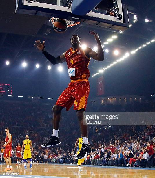 Patric Young #4 of Galatasaray Liv Hospital Istanbul in action during the Euroleague Basketball Top 16 Date 6 game between Galatasaray Liv Hospital...