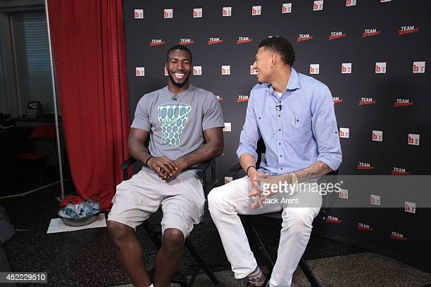 Patric Young and Isaiah Austin sits down for an interview during the Samsung Las Vegas Summer League games on July 14 2014 at the Thomas Mack Center...