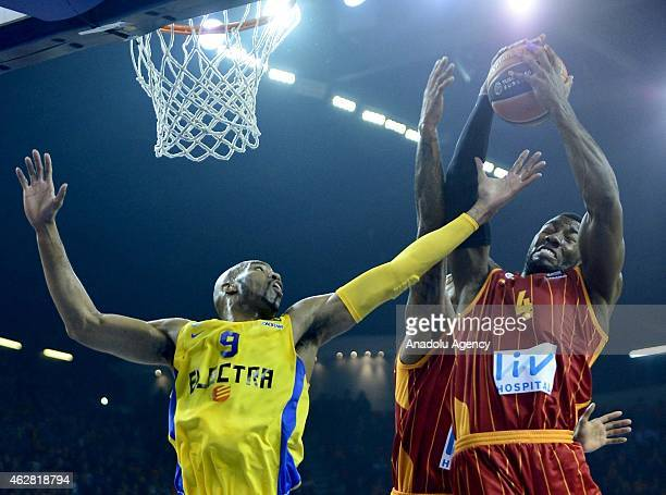 Patric Young of Galatasaray in action against Alex Tyus of Maccabi Electra during the Turkish Airlines Euroleague Basketball Top 16 Round 6 game...