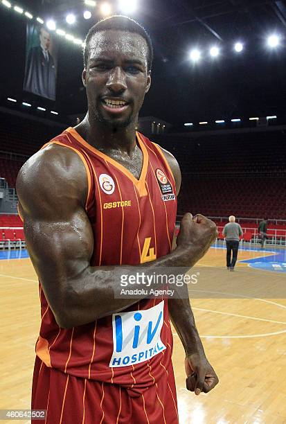 Patric Young of Galatasaray Liv Hospital celebrates his team's victory against Olympiacos Piraeus after the Turkish Airlines Euroleague regular...