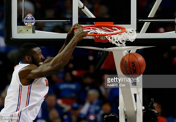 Patric Young of the Florida Gators dunks against the Kentucky Wildcats in the seond half during the Championship game of the 2014 Men's SEC...