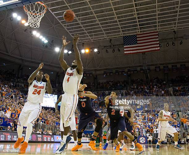 Patric Young of the Florida Gators grabs a rebound during the second half of the game against the Auburn Tigers at the Stephen C O'Connell Center on...