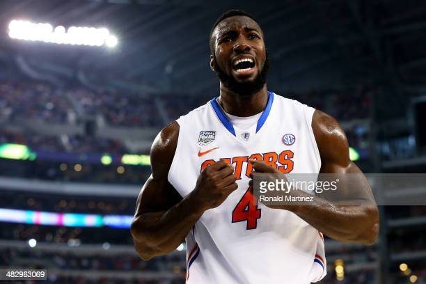 Patric Young of the Florida Gators reacts against the Connecticut Huskies during the NCAA Men's Final Four Semifinal at ATT Stadium on April 5 2014...
