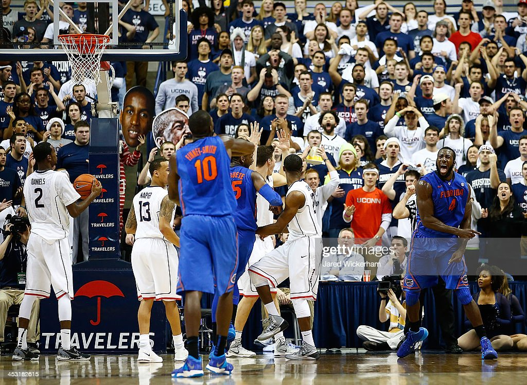 Patric Young #4 of the Florida Gators reacts in the second half against the Connecticut Huskies during the game at Harry A. Gampel Pavilion on December 2, 2013 in Storrs, Connecticut.