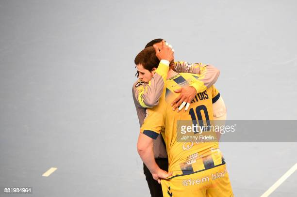 Patrice Annonay and Jeremie Courtois of Tremblay looks dejected after the Lidl Starligue match between Paris Saint Germain and Tremblay on November...