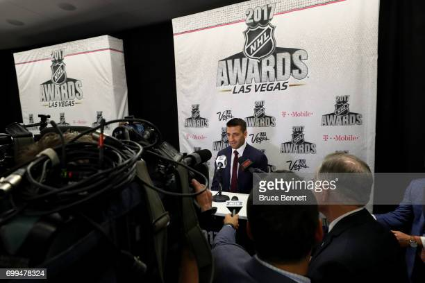 Patrice Bergeron of the Boston Bruins addresses the media after winning the Frank J Selke Trophy during the 2017 NHL Awards and Expansion Draft at...