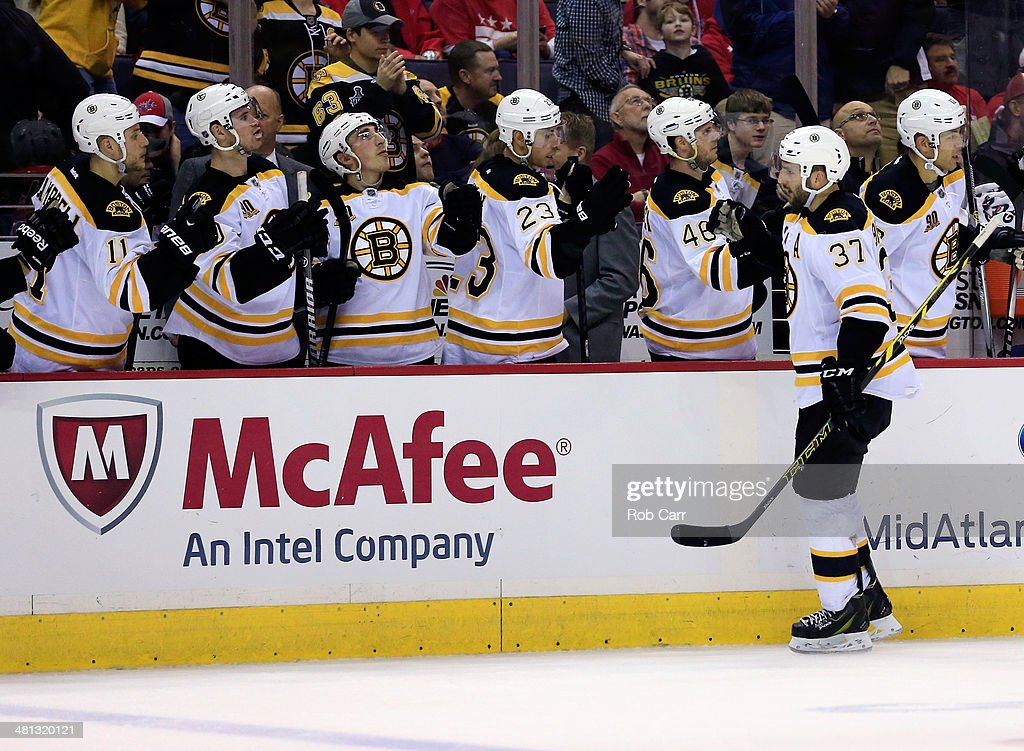 <a gi-track='captionPersonalityLinkClicked' href=/galleries/search?phrase=Patrice+Bergeron&family=editorial&specificpeople=204162 ng-click='$event.stopPropagation()'>Patrice Bergeron</a> #37 of the Boston Bruins celebrates after scoring a third period goal against the Washington Capitals during the Bruins 4-2 win at Verizon Center on March 29, 2014 in Washington, DC.
