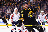 Patrice Bergeron of the Boston Bruins celebrates after scoring against the Washington Capitals during the first period at TD Garden on March 5 2016...
